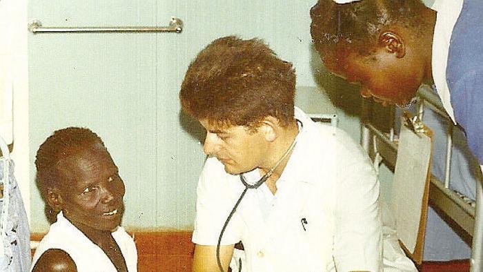 Gianluigi Rho al Saint Kizito Hospital di Matany in Uganda, da lui aperto con la moglie Mirella Capra nel '70